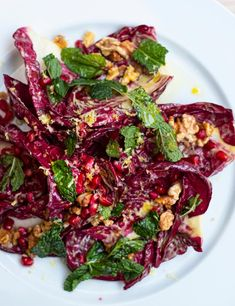 You'll find this vibrantly purple salad on the menu at Glasgow's Gloriosa. Try chef Rosie Healey's nutty, nutritious recipe for a dinner party side Halloumi Salad Recipes, Vegetarian Salad Recipes, Vegan Lunch Recipes, Easy Salad Recipes, Chef Recipes, Vegan Dinners, Vegan Dinner Party, Dinner Party Recipes, Lentil Ragu