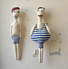 Swimmer in Blue Bathing SuitSoft DollHand Painted by polykatoikia