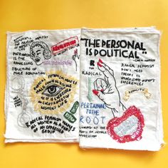 This zine is a feminist zine that talks about radical feminism. It's a 16pp A5 zine made 100% from cotton, nylon strings, and some colourful shiny beads, fully hand embroidered.