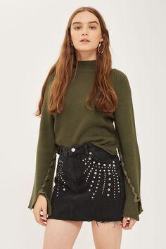 MOTO Studded Denim Mini Skirt - Skirts - Clothing - Topshop