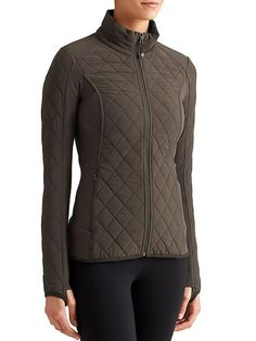 Upside Jacket - stretch insul8, water repellent quilted panels and pilayo panels - yosemite green or chianti | Athleta