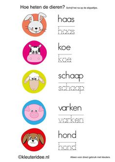 Dierennamen naschrijven in de schrijfhoek, kleuteridee.nl , free printable. Learning To Write, Fun Learning, Language Activities, Toddler Activities, Handwriting Sheets, Farm Theme, Pre School, Diy For Kids, Elementary Schools