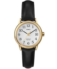 Timex Watch, Women's Black Leather Strap T2H341UM $50.00
