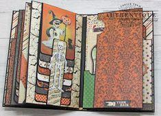 Halloween Mini Albums, Halloween Scrapbook, Halloween Books, Mini Scrapbook Albums, Pocket Scrapbooking, Scrapbooking Ideas, Scrapbook Layouts, Album Maker, Vintage Banner