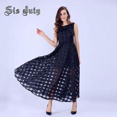 Sisjuly 2016 Maxi Summer Plaid Women Dress New Design Long Organza Dress Vestidos De Festa Satin Fashion