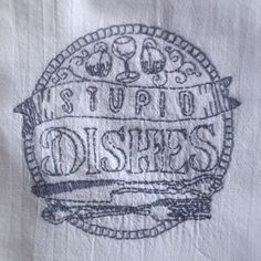 Stupid Dishes hand embroidered dish towel by StrongArtsAndCrafts