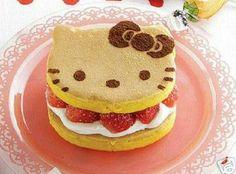 Hello kitty pancake with strawberries and cream Crepes And Waffles, Pancakes, Food Design, Pancake Maker, Kawaii Dessert, Hello Kitty Cake, Japanese Snacks, Picnic Foods, Fake Food