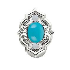 14k Yellow or White Gold Turquoise Opal Victorian Bracelet Slide 81006-TQ