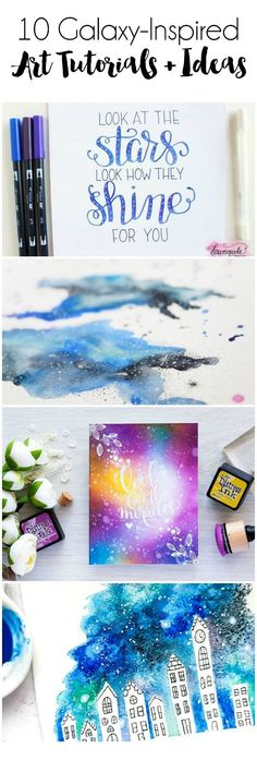 These gorgeous tutorials will leave you inspired and ready to create your own galaxy art! 10 Galaxy-Inspired Art Tutorials & Ideas Click any title or image t Diy Galaxy, Galaxy Art, Watercolor Art Diy, Caran D'ache, Galaxy Painting, Art Journal Inspiration, Art Techniques, Art Tutorials, Diy Art