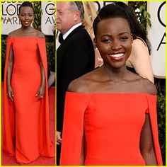 Lupita Nyongo Golden Globes Ralph Lauren gown. My current obsession!