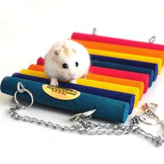Colorful Hamster Wooden Hanging Bed Small Pet Animal Toy Totoro Hammock Hamster Play Toy Cage Accessory