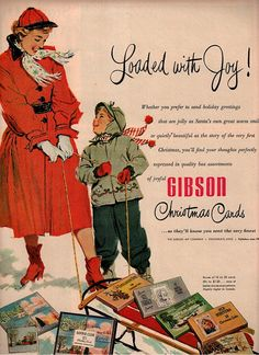 Vintage Gibson Christmas card Advertisement, 1952