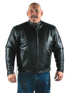 Star Spangled 1776 - Men's Racer Black Leather Motorcycle Jacket