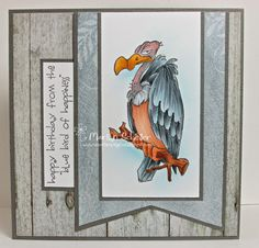 One Stamping Fool: Happy Birthday you old buzzard! Trifold Shutter Cards, Happy Bird Day, Art Impressions Stamps, Hampton Art, Buzzard, Bday Cards, Animal Cards, Funny Cards, Copics
