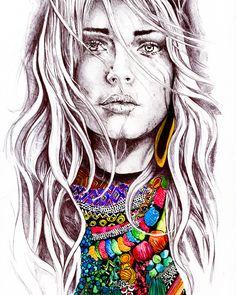 wavy hair and beads art prints