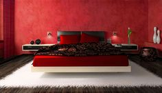 Red Color Combination in Bedroom Wallpaper