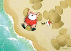Santa making snow angels on the beach