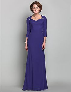 Trumpet/Mermaid Queen Anne Chiffon Mother of the Bride Dress (618842) - USD $ 148.49
