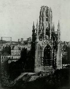 The Scott Monument during construction (1844) By courtesy of Edinburgh City Libraries
