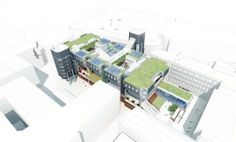 Aerial view of the Arup Building showing the new green roofs and extensions (image courtesy of Nicholas Hare Architects)