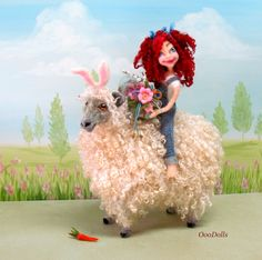 Easter fun with Phoebe Marie. Needle felt doll.