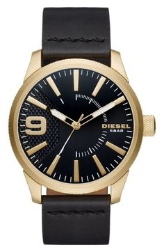 DIESEL® Rasp Leather Strap Watch, 46mm available at #Nordstrom