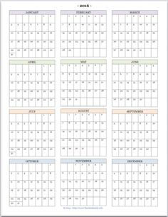 """Free printable """"Year at a Glance"""" calendar for 2016. You'll also find tons of other great printables at www.flandersfamily.info."""