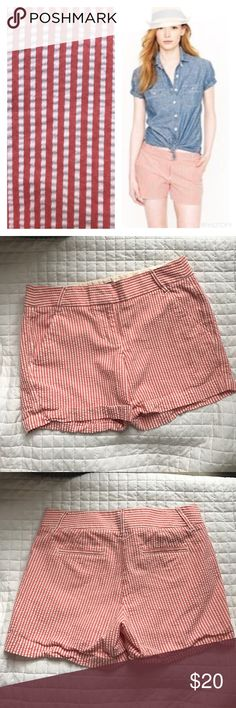 "Coral & White City Fit Seersucker Shorts Gently used, excellent condition with no stains, holes or rips! 100% Cotton. Sits just above hip. Zip fly. Slant pockets, back welt pockets. 5"" inseam. Machine wash and dry. All of my items come from a clean, smoke-free home! Check my closet for more items and save when you bundle! Please let me know if you have any questions! J. Crew Factory Shorts"