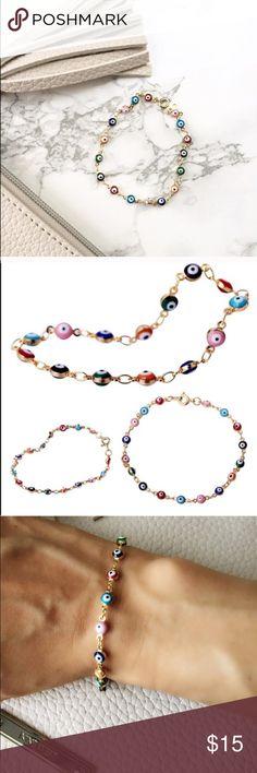 "Infinity enamel evil eyes fashion bracelet. Enamel The EYE charm bracelet ; enamel bracelet. fashion romantic style bracelet . Link chain gold plated. Length : 7.8"" CHICBOMB Jewelry Bracelets"