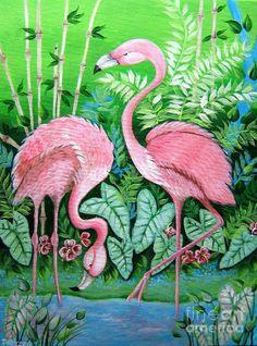 Pink Flamingos Painting  - Pink Flamingos Fine Art Print