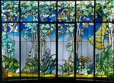 Jacques Gruber, Véranda dite de la Salle,1904 verre multicouche, verre peint, verre américain chenillé, verre américain irisé, gravure à l'acide