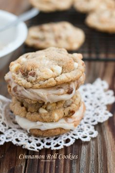 The Softest Cinnamon Roll Cookies filled with Cinnamon Roll Frosting! ohsweetbasil.com