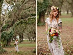 love her! bohemian bride, lace wedding dress, vintage inspired, eclectic bride