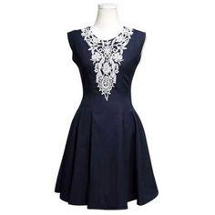 Trendy Sleeveless Round Collar Nipped Waist Diamonds Design Dress (DEEP BLUE,XL) in Dresses 2014 | DressLily.com
