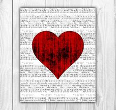 8x10 Red Heart on Sheet Music Art - Old Sheet Music Decoration - Heart Printable - Wall Decor Art - Instant Download