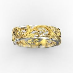 Ring with floral ornament 3 print model, available formats STL, gold, ready for animation and other projects Diy Jewelry Rings, Custom Jewelry, Bridal Jewelry, Fine Jewelry, Custom Wedding Rings, Unique Wedding Bands, Unique Rings, Beautiful Rings, Flower Band