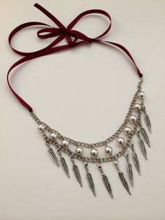 Feather Statement Necklace by banglesandbauble on Etsy