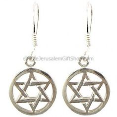 Sterling silver Star of David within circle earrings.