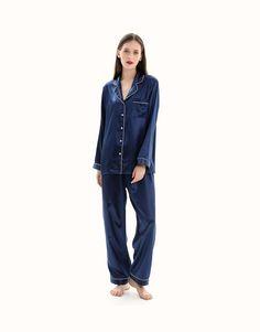 22 Momme V-Neck Silk Pajama Set - Small / Navy Blue