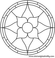 Beginner Stained Glass Patterns | Flower round panel outline. Free stained glass pattern