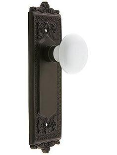 Egg U0026 Dart Style Door Set With White Porcelain Door Knobs   House Of  Antique Hardware