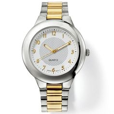 A men's two tone watch that has a silvertone band with gold in the middle. Watch has a round face and gold numbers and hand. Face has a lattice pattern in the inner middle portion.· Band: 8 L with foldover clasp· Battery: Replaceable Movement: Imported Gold Number, Avon Online, Camping Gifts, Link Bracelets, Fashion Watches, Sale Items, Quartz, Stuff To Buy, Accessories