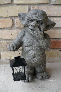 Ogre Gargoyle Statue with Lantern Figure Garden Picking Nose Ornament Figurine | eBay