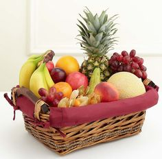 Fruit Basket - Get Well Flowers Fruit Box, Fruit Cups, Fruit And Veg, Fruits And Vegetables, Fresh Fruit, Fruit Hampers, Gift Hampers, Gift Baskets, Fruit Gifts