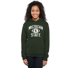 Michigan State Spartans Women's Distressed Football Pullover Hoodie - Green - $44.99