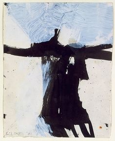Franz Kline. / I see a young woman wearing a black jacket with her arms wide will lots of wind blows fiercely