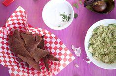 raw tortilla chips w/ radishes, corn, tomatoes, jalapeno & chia seeds, guacamole & raw vegan sour cream