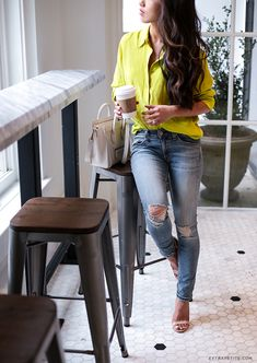 Neon blouse, distressed denim and steve madden stecy heels