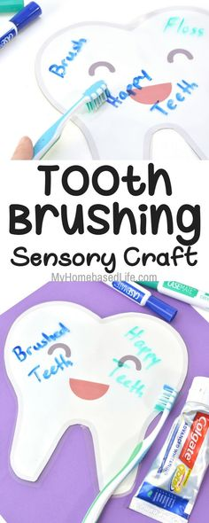 better way to learn than on a GIGANTIC tooth? Its super simple to create and your kids can learn the motions for brushing their teeth without their hand in their faces. Learning Through Play, Fun Learning, Learning Activities, Autism Learning, Health Activities, Teaching Ideas, Sensory Activities, Sensory Play, Preschool Activities