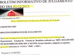 JARI do Detran/RO publica resultados de recursos contra multas de trânsito julgados no dia 3.12.2015 75870 +http://brml.co/1Nz3FKp